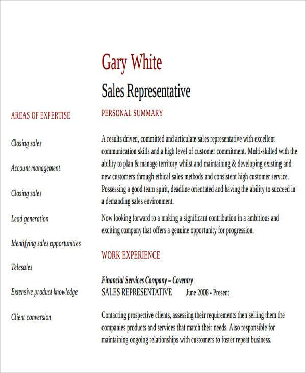 sales service representative resume
