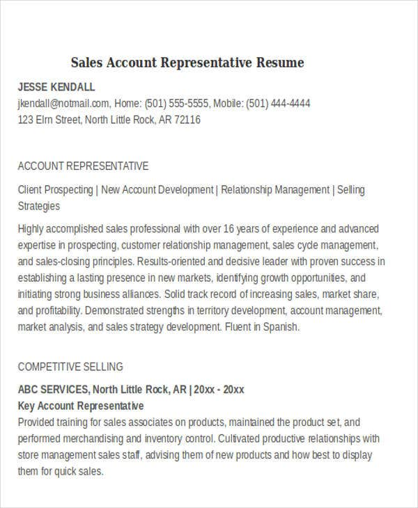 sales account representative resume