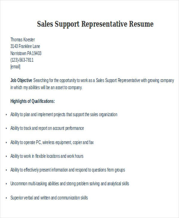 sales support representative resume
