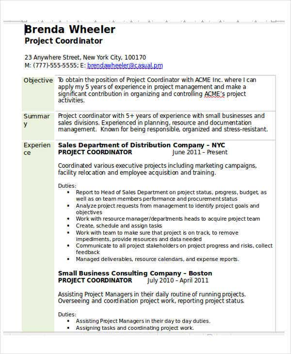 Sales Coordinator Job Description Sales Project Coordinator