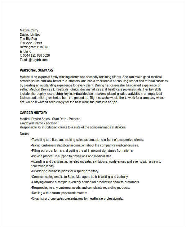 medical device sales resume