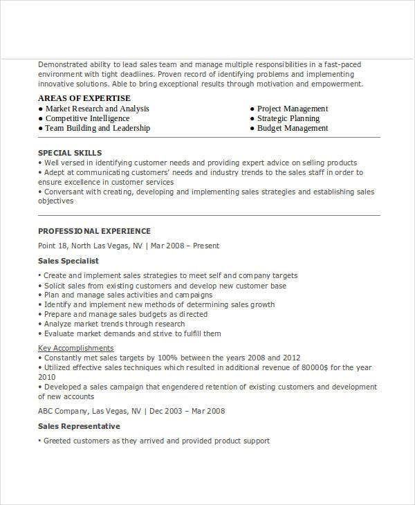 sales service specialist resume