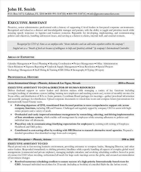 sample executive assistant resume3