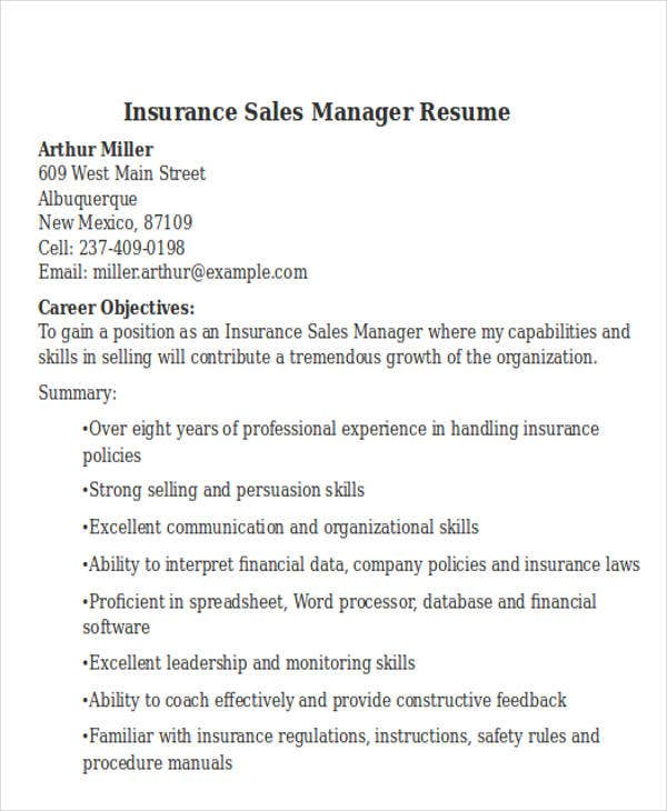 Insurance Sales Manager Resume. Bestsampleresume.com  Insurance Sales Resume