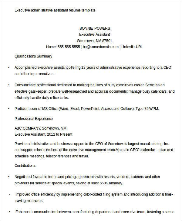 sample resume for executive assistant to senior executive - 20 executive resume templates pdf doc free premium