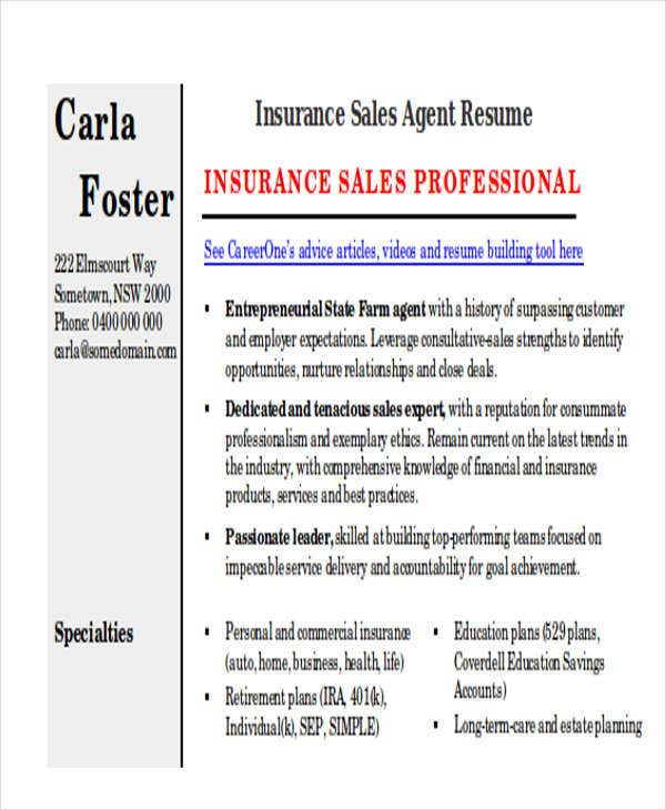 insurance sales agent resume1