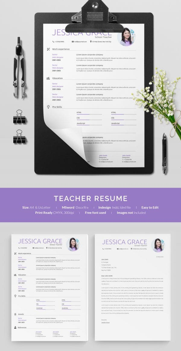 One Page Teacher Resume Example
