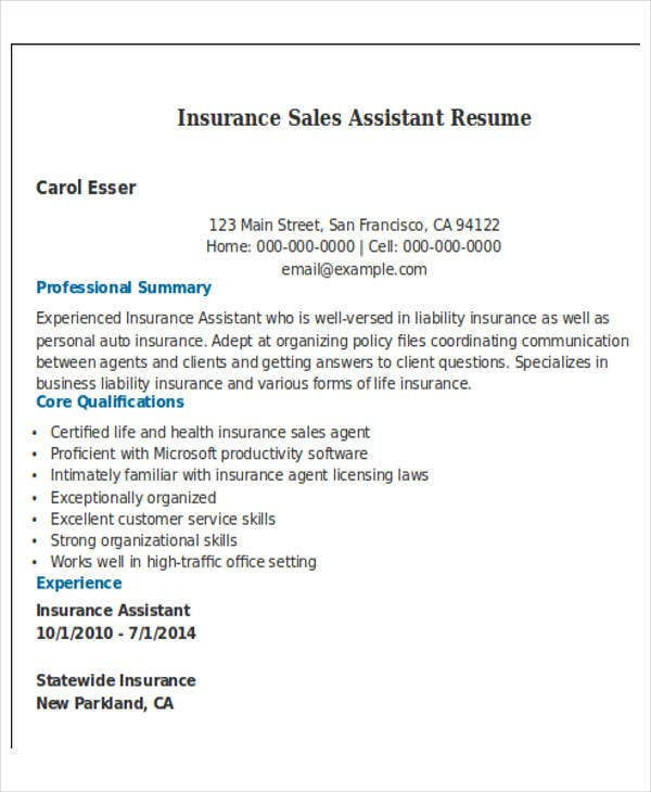 insurance sales assistant resume