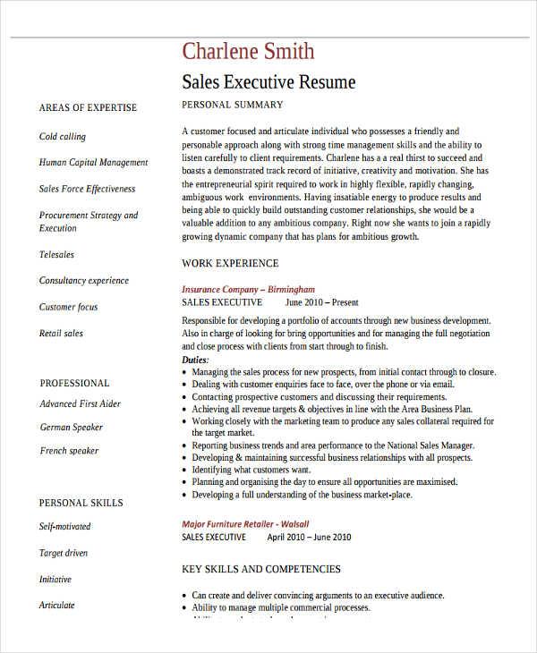 sales marketing executive resume