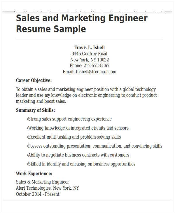vp of sales marketing resume