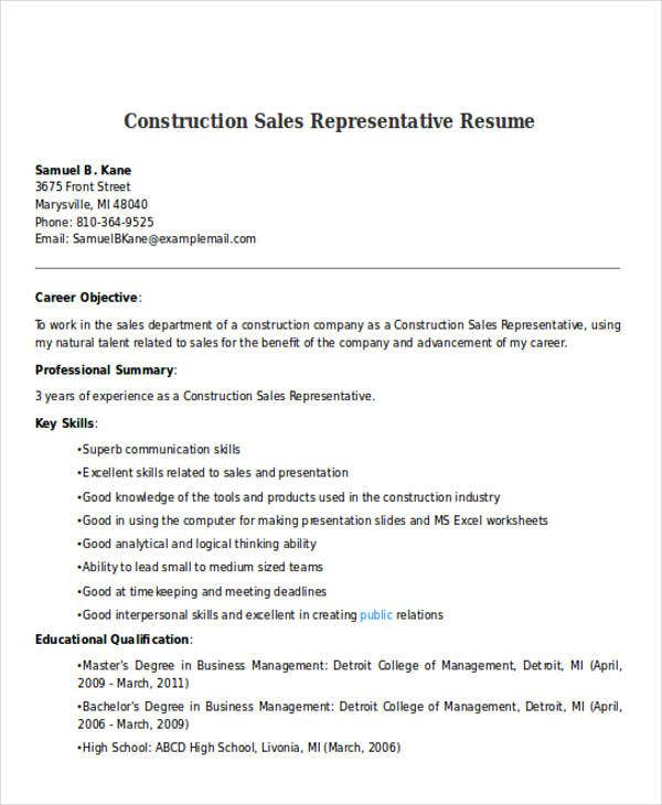 Resume Sample For Sales Representative