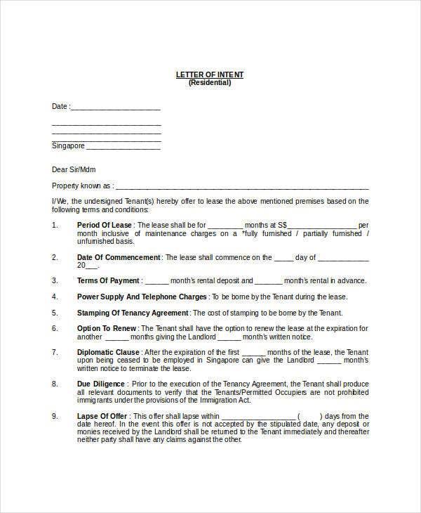 residential real estate letter of intent doc