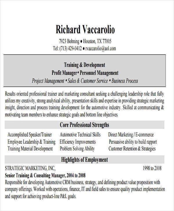 corporate sales trainer resume1