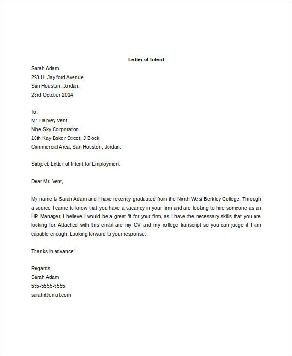 Intent Letter Format For Job