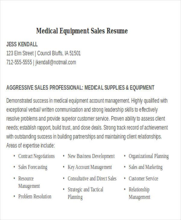 medical equipment sales resume1