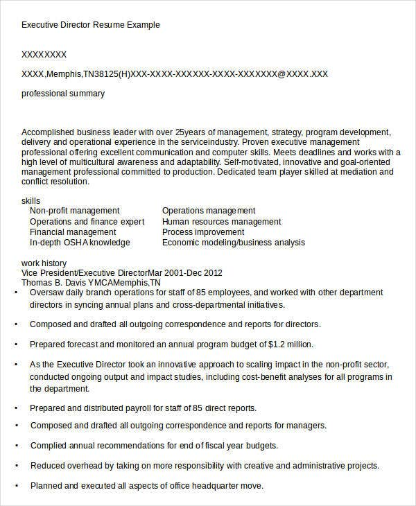Executive Director Resume. Program Director-Page1 18 Best Non