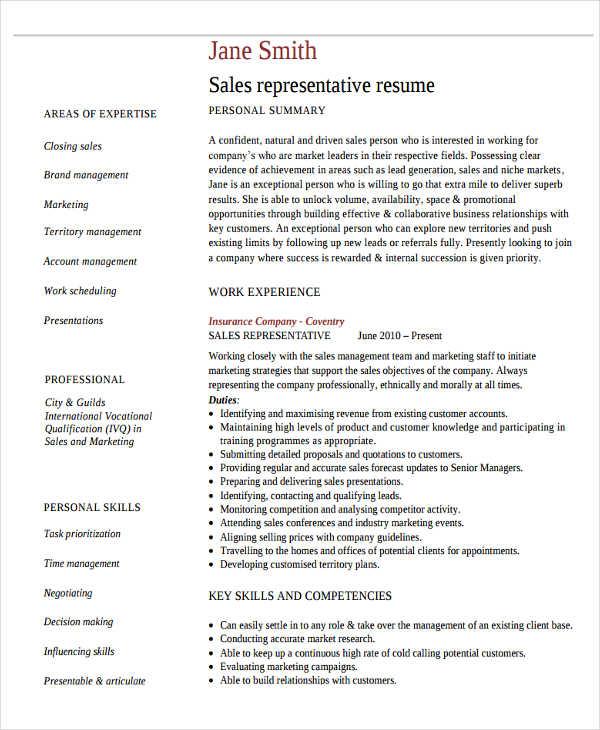 47 basic sales resume free premium templates