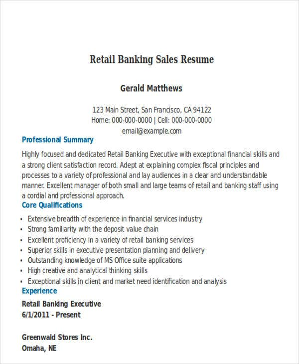 retail banking sales resume1