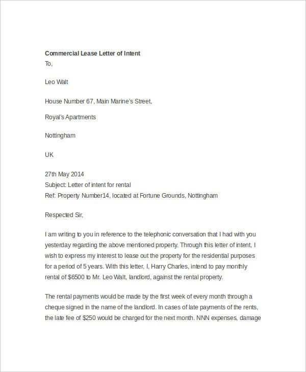 Amazing Commercial Lease Intent Letter Regarding Letter Of Intent Template Uk
