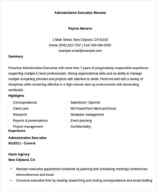 executive resume templates 28 free word pdf documents