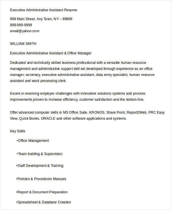executive administrative assistant resume2