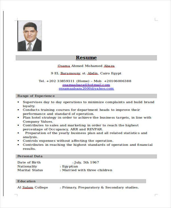 hospitality sales executive resume