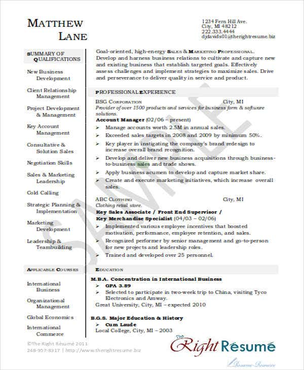 sales account manager resume6