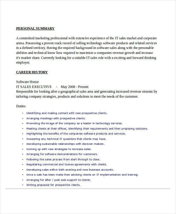 it sales executive resume - It Sales Resume