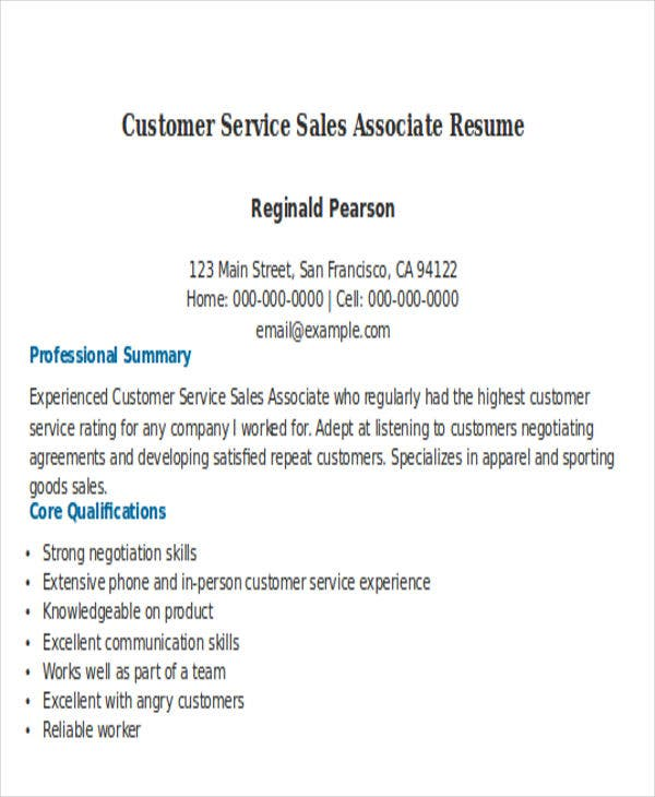 Customer Service Sales Associate Resume1