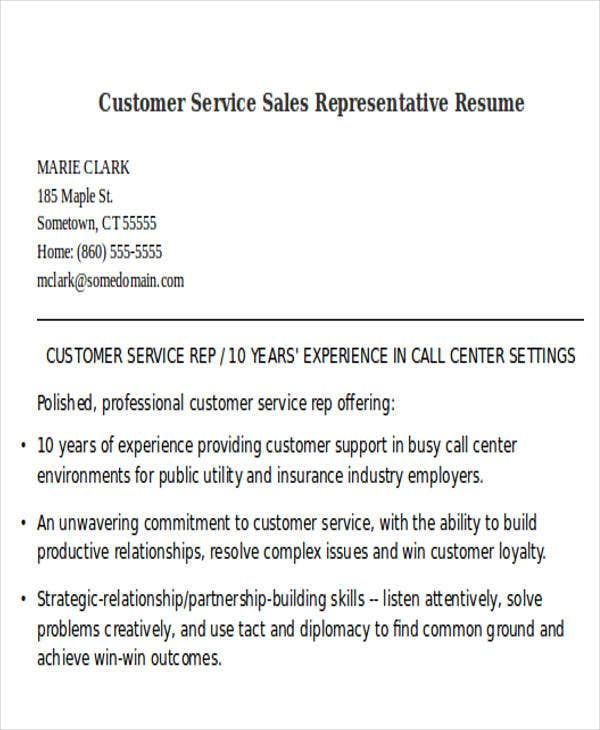 sle of a customer service representative resume 28