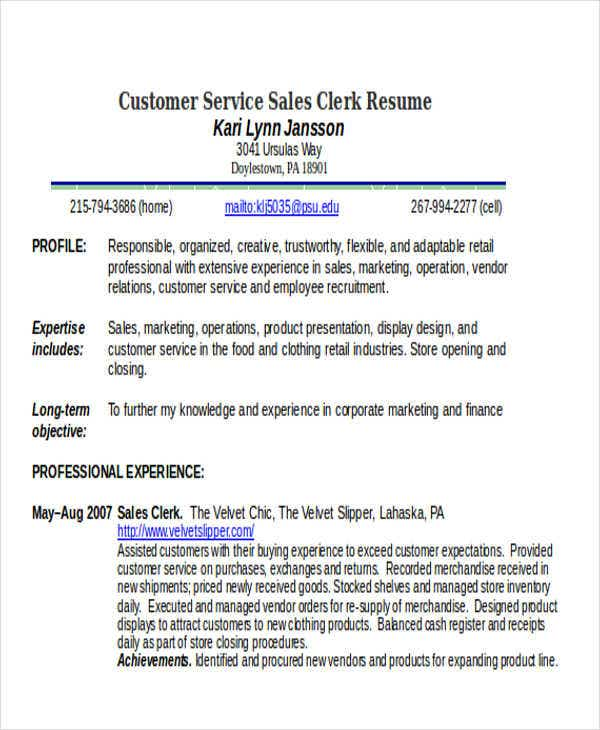 customer service sales clerk resume