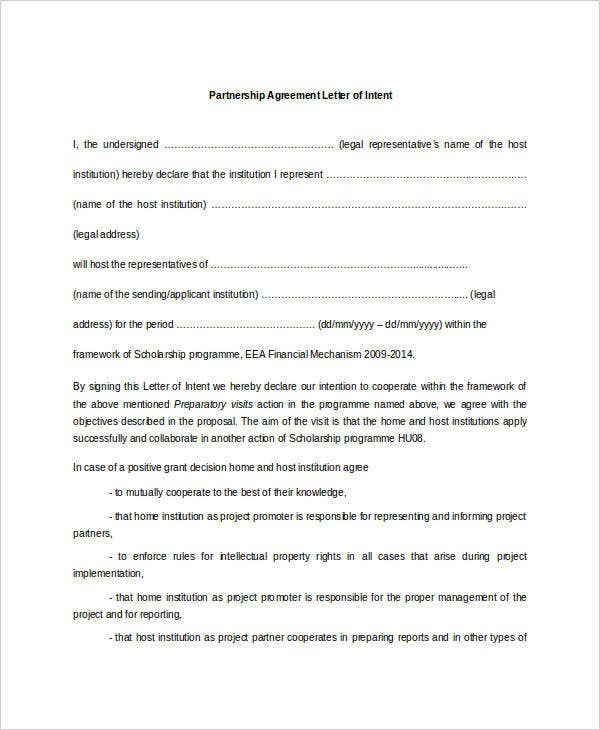 partnership agreement letter of intent