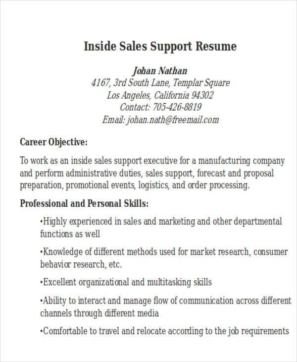 inside sales support resume