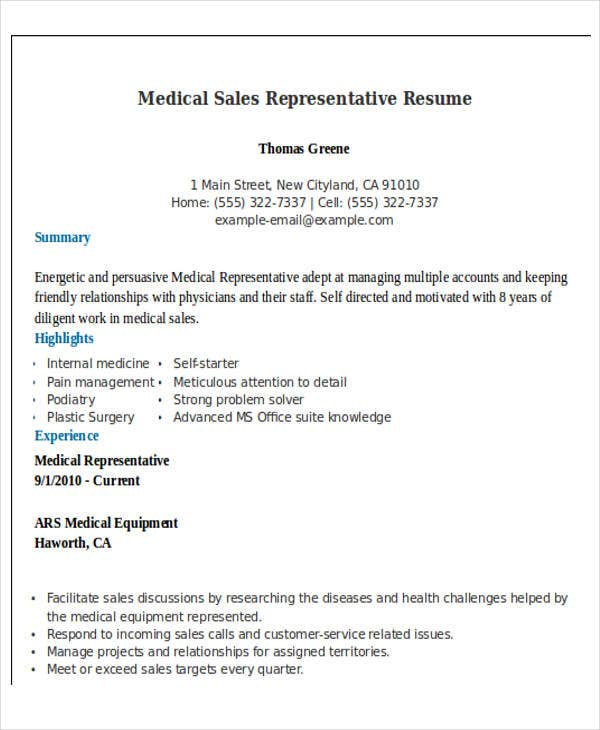 medical sales representative resume4