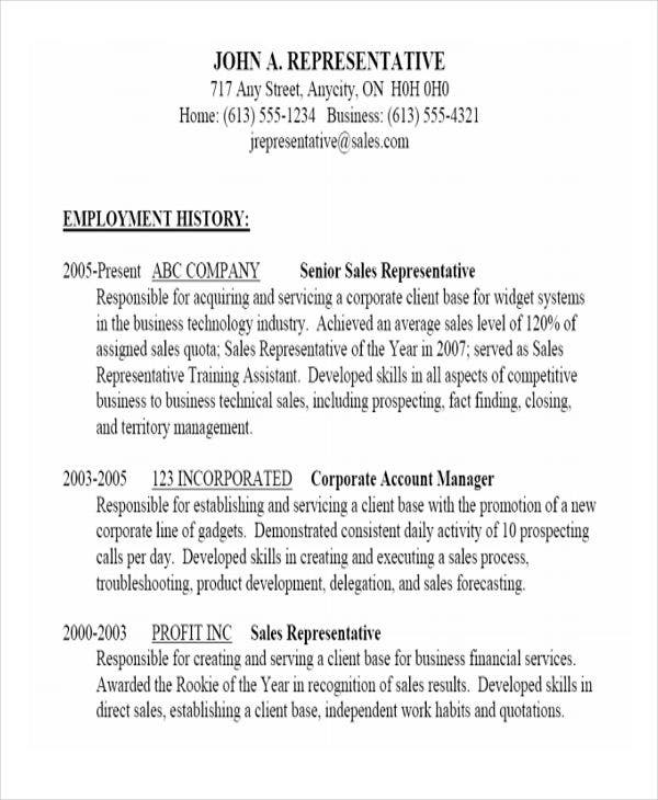 professional business sales resume