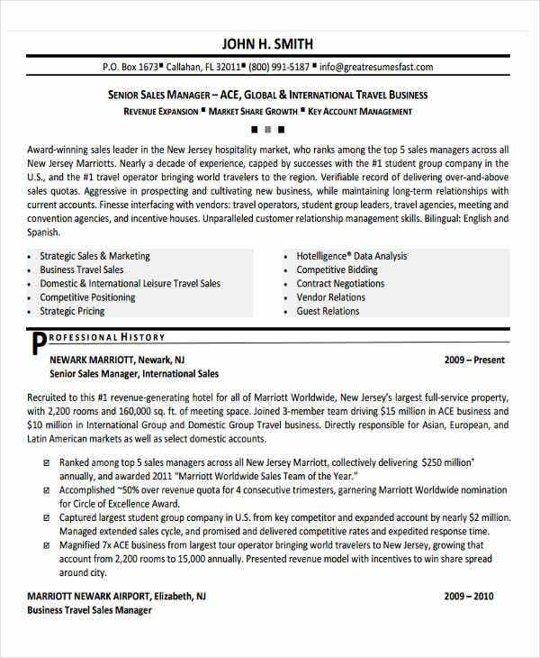 Business Travel Sales Manager Sample Resume. Senior Sales Manager