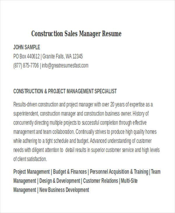 construction sales manager resume1