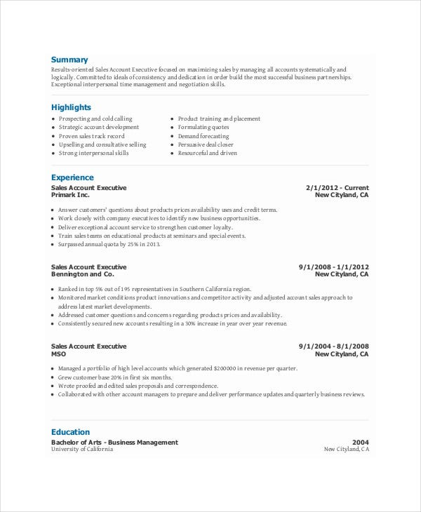 Sales Executive Resume Templates - 11+ Free Word, Pdf Format