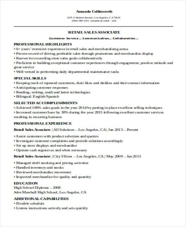 resume for retail sales associate free resume exle and