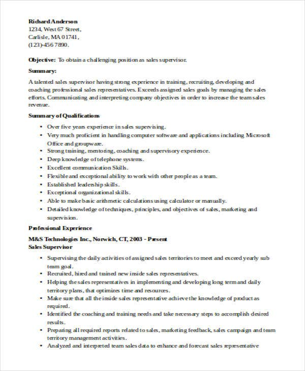 retail sales supervisor resume1