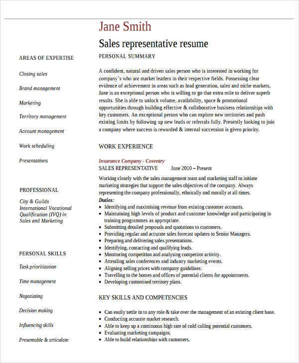 free sales representative resume sample - Sales Representative Resume Sample
