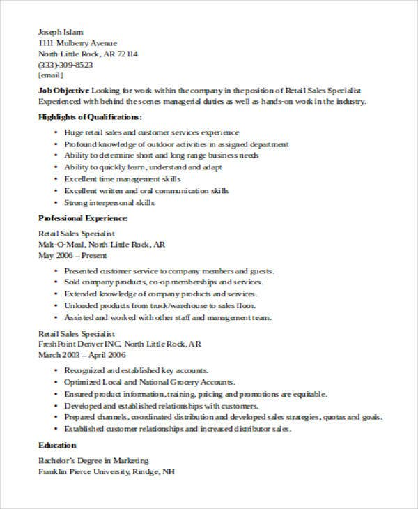 sales specialist resume - Warehouse Specialist Resume