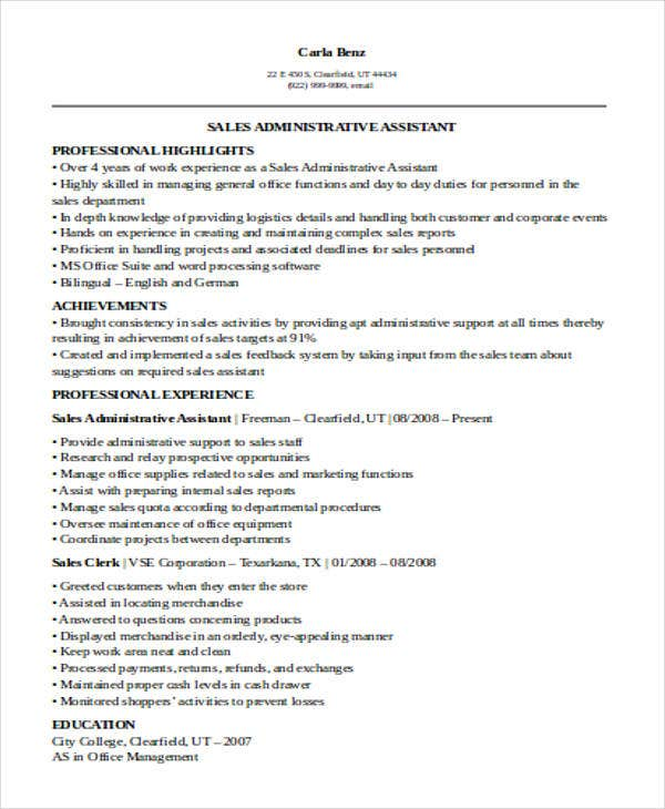 sales administrative assistant resume2