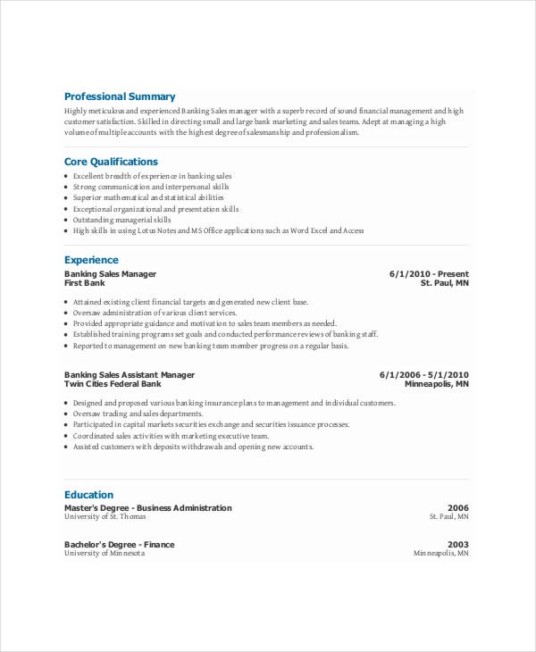 banking sales manager resume