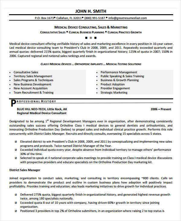 Professional Sales Resume Templates - 31+ Free Word,Pdf Document