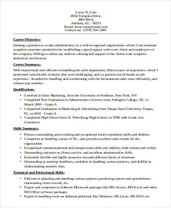 sample sales administrative resume