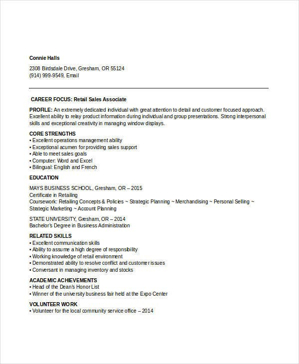 retail sales entry level resume