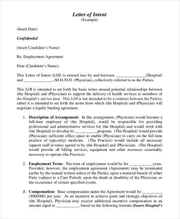 employment agreement letter of intent