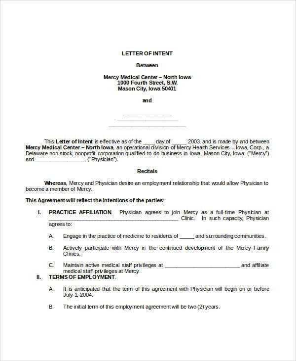 40 Letter of Intent Templates Free Word Documents Download