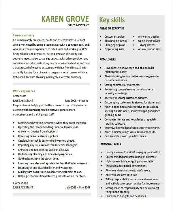 sales assistant resume